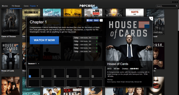 The steps to start watching a film series on Popcorn Time