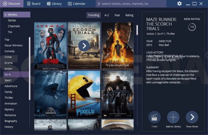 The main page of Stremio, featuring the latest blockbusters