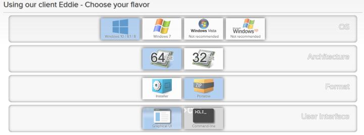 AirVPN's Download Options