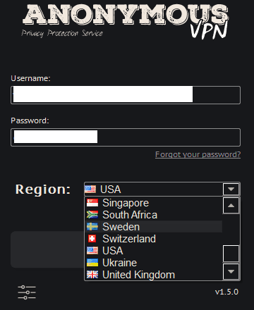 Anonymous VPN client available locations