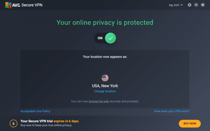 AVG Secure VPN Connected