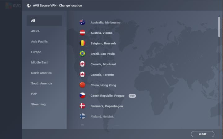 AVG Secure VPN's Country List