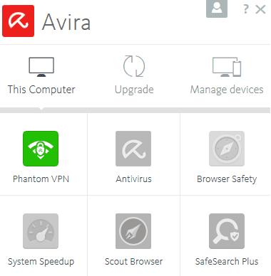 Selection menu for Avira Phantom client