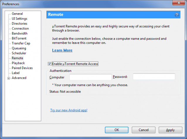 Remote access options in BitTorrent