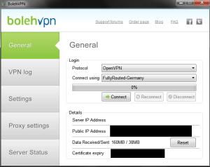 The main interface of BolehVPN's desktop client