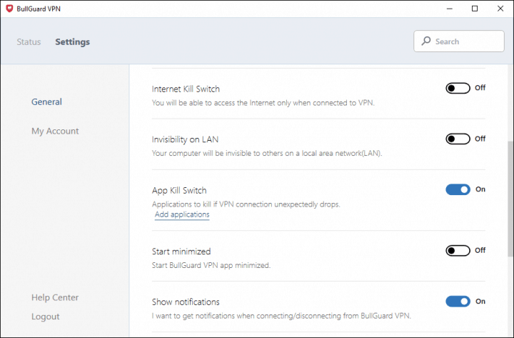BullGuard VPN Main Client