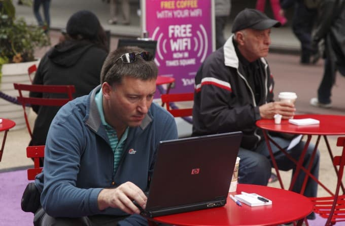 Using public Wi-Fi at a coffee shop while abroad