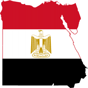 Flagged map of Egypt