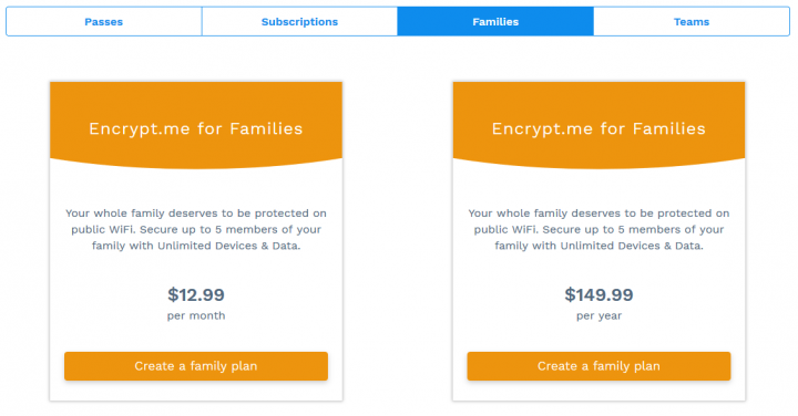 Encrypt.me's Subscriptions for Families
