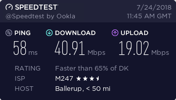 Encrypt.me's Denmark Speed Test