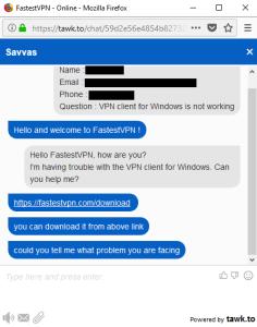 FastestVPN live chat support