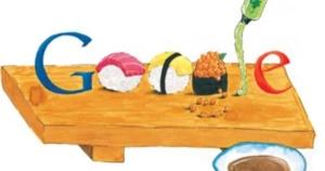 Google logo in sushi