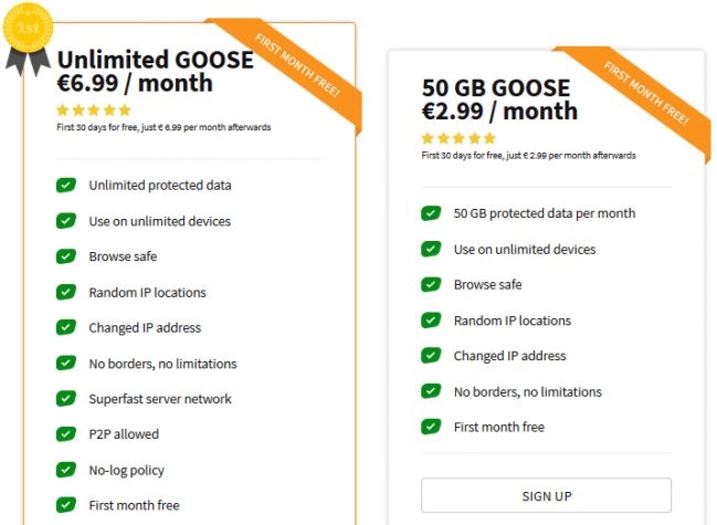 GOOSE VPN pricing