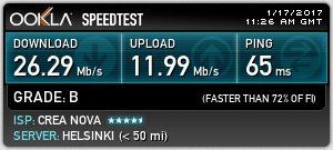 Finland Speed Test Using IKEv2