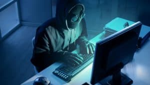 Example of a hacker on a computer