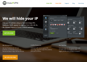 The main home page of HideIPVPN