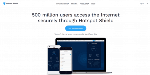Hotspot Shield homepage