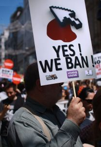 Men protesting for Turkey bans in 2011