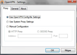 The GUI client offers limited settings compared to a private software