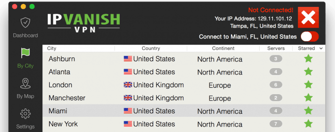 Countries list with secure VPN servers in the IPVanish Mac client