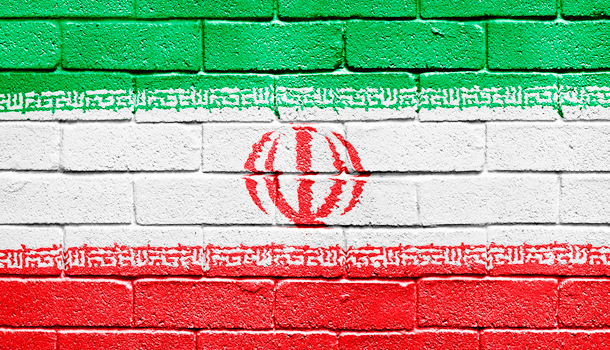 Censorship wall colored as the Iran flag