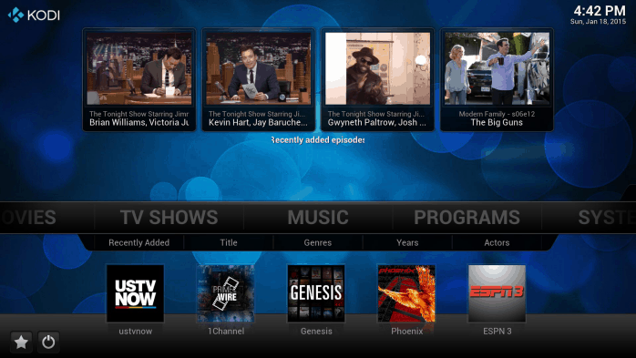 The features page of Kodi, showing media content from the Internet