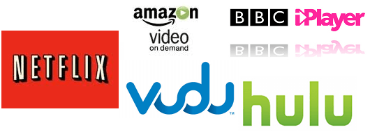 Media streaming websites including Netflix, Vudu, Hulu,...