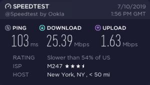 Mullvad New York USA speed test