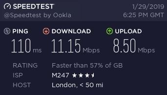 NordVPN UK Speed Test on Double VPN Server