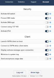 OVPN privacy settings at client