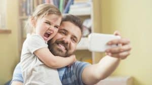 Example of a selfie of a father and his child