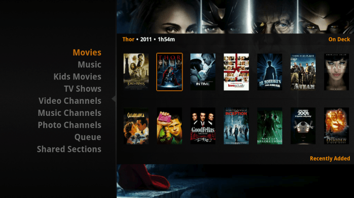 The setout of movies on Plex