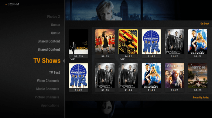 The different TV series offered by Plex