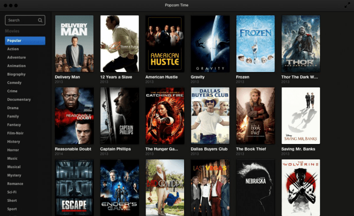 The main page of Popcorn Time, showing the downloadable movies