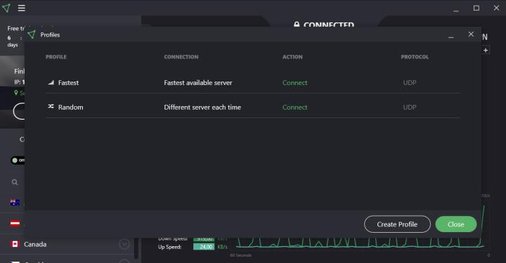 ProtonVPN connection profiles