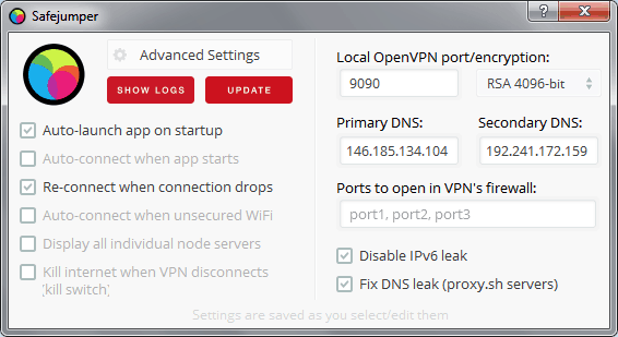 Advanced VPN settings in Proxy.sh