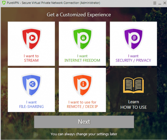 The user-friendly client interface of PureVPN