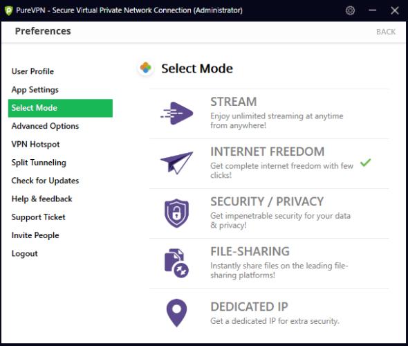 PureVPN select mode