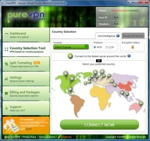 Screenshot of the PureVPN software in action