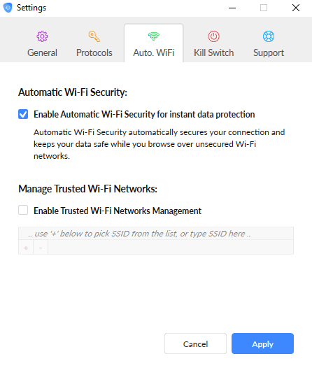 SaferVPN Wi-Fi Settings