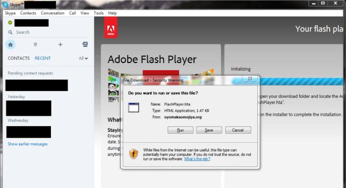 A user's screenshot of Skype's malware