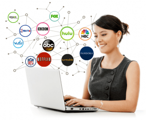 A woman enjoying unrestricted streaming via smart DNS