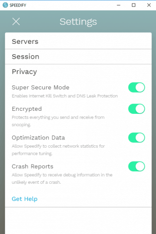 Speedify's privacy settings
