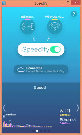 Speedify connected to an USA server