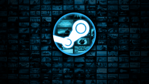 The Steam logo with lots of games in the background
