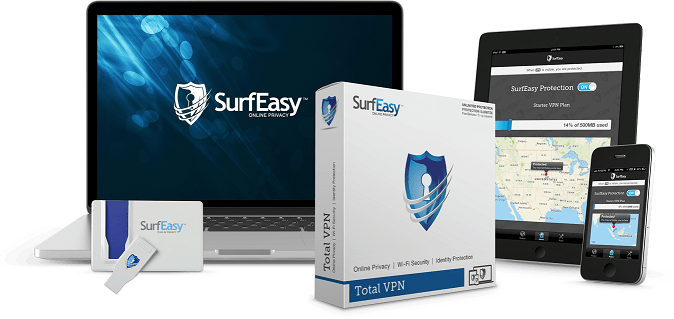 A display of SurfEasy products. Apart from device support options, a private USB is also offered.