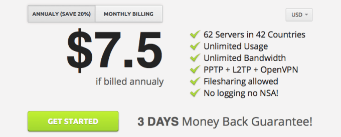 Pricing of tigerVPN with big savings on annual plans