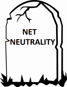 A tombstone representing the death of net neutrality