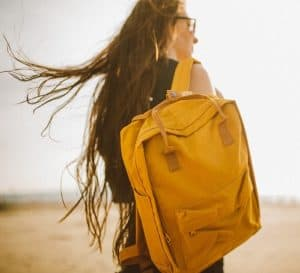 Traveler with backpack and VPN
