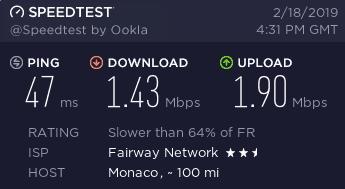 UltraVPN France speed test with firewall